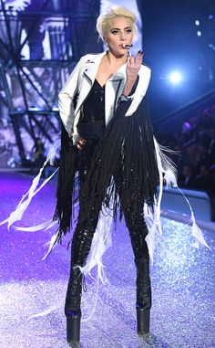 Lady Gaga from 2016 Victoria's Secret Fashion Show The Joanne singer proves she can walk in even the most absurd heels as she belts her heart out.