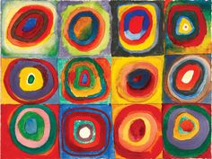 "Vasily Kandinsky. ""Farbstudie — Quadrate mit konzentrischen Ringen (Color study — squares with concentric rings)"" (1913). Watercolor, gouache, and crayon on paper, 9 3⁄8 × 12 3⁄8 inches. Stadtische Galerie im Lenbachhaus, Munich. © 2012 Artists Rights Society (ARS), New York/ADAGP, Paris. Courtesy Städtische Galerie im Lenbachhaus, Munich."