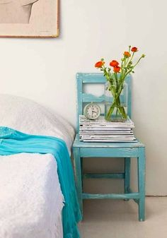 teen vintage room ideas with chair for nightstand
