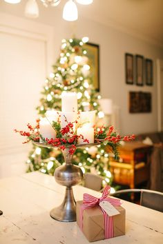 Beautiful way to add candlelight to a tabletop! #pressedcotton #holidaydecor