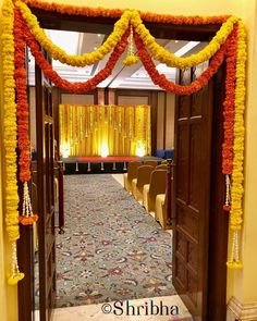 A traditional entrance decor with Marigolds! #shribha #shribhaweddings #flowersmakeitbetter #stagedecor #stagesetup #weddingplanning…