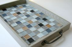 Mosaic Wood Serving Tray, Grey Upcycled Tray, Tiled Wood Tray, OOAK Tray, Gray Tiled Tray via Etsy At the restore we love this idea!