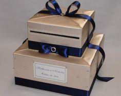 Wedding Card Box Ivory and Navy Gift Card Box Money Box Holder ...