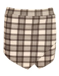 Tartan Check Print Skort in White £ 7.95 #chiarafashion #tartan #monochrome #check #print #asymmetric #skort