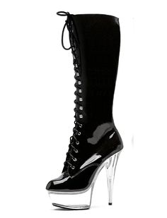 7ffa192fed Black Lace Up Front Knee High Boots Clear 2