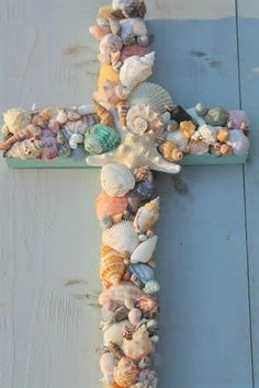 Seashell Cross made from wood scraps and shells you've collected!