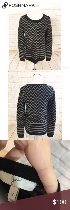 """Joie hideaki sparkle chevron sweater Very cute chevron print sweater by Joie. Bust is 18"""" length is 24"""" arm is 10"""". Excellent condition, and very soft with 5% cashmere. Please refer to measurements when deciding on fit. Sweaters Crew & Scoop Necks"""