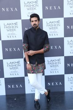 Bollywood actor Saqib Saleem arrives in style at the Day 1 of Lakme Fashion Week in Mumbai. Indian Groom Dress, Wedding Dresses Men Indian, Wedding Outfits For Groom, Formal Dresses For Men, Indian Bridal Outfits, Wedding Dress Men, Mens Fashion Summer Outfits, Stylish Mens Outfits, Mens Fashion Suits