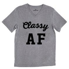 Classy AF Tri-Blend Gray Unisex V-Neck Tee | Sarcastic Me
