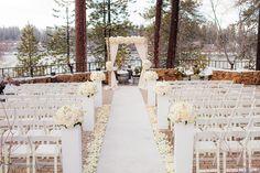 Outside Winter Ceremony - Poolside.  www.lakearrowheadresort.com