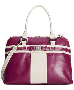 Giani Bernini Handbag, Glazed Leather Dome Satchel