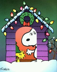 Snoopy and Woodstock looking out. I Love Snoopy ♥ ♥ ♥ Snoopy Love, Snoopy Feliz, Snoopy E Woodstock, Charlie Brown Und Snoopy, Peanuts Christmas, Charlie Brown Christmas, Christmas Art, All Things Christmas, Christmas Lights