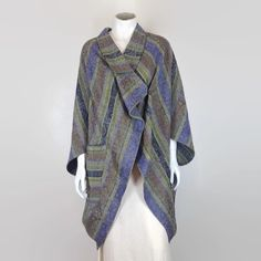 cocoon coat tribal wool damask poncho batwing wrap by ErnestTaylor