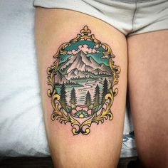 Frame with Mountain and Lake Scene inside Color Tattoo - Chris Benson Time Tattoos, Foot Tattoos, Forearm Tattoos, New Tattoos, Tattoos For Guys, Sleeve Tattoos, Tattoos Mandala, Tattoos Geometric, Flower Tattoos