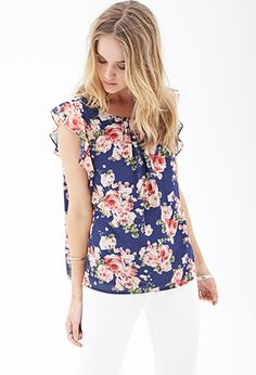 Ruffled Floral Chiffon Blouse | FOREVER21 - 2000086418