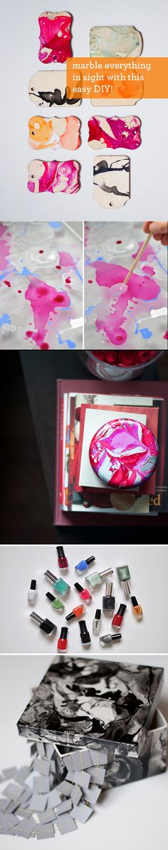 DIY Marbling with Nail Polish & water (tutorial at Design Mom)Technique. DIY Marbling with Nail Polish & water (tutorial at Design Mom) Kids Crafts, Easy Diy Crafts, Decor Crafts, Nail Polish Crafts, Nail Polish Art, Nail Art, Diy Jewelry For Mom, Jewelry Crafts, Paper Jewelry