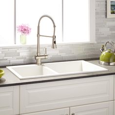 "34"" Sabelle 60/40 Offset Double-Bowl Drop-In Granite Composite Sink - Single Faucet Hole - White"