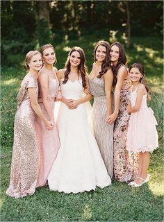 blush and shimmer bridesmaid dresses @weddingchicks