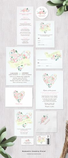 Romantic and sweet pink and yellow floral wedding invitation collection.
