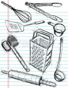 Sketch Of Kitchen Utensils : draw kitchen sketch kitchen kitchen mural drawings mix object drawings ...