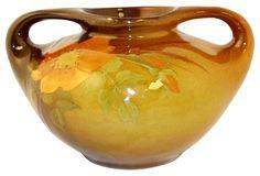 Owens Pottery Utopian Wild Rose Handled Vase (Stemm)