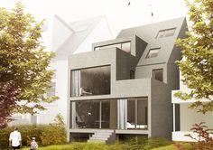 Das Projekt sieht die Sanierung und Erweiterung eines Reihenhauses in München vor. Die neuen, zusätzlichen Flächen werden additiv an den Bestand angefügt.