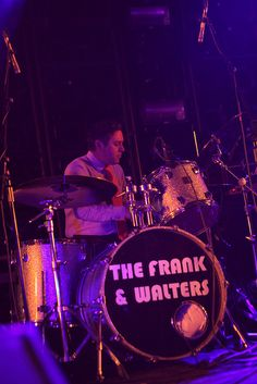 """The Frank and Walters live at Manchester Academy. Drummer Ashley Keating powers out """"We are the Frank and Walters"""" intro on the brand new Frank and Walters Bass Drum front. Photo by Sam Ryley"""