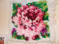 ROSE FLOWER RUG Beautiful Rose Latch Hook Rug by CathysCraftWorld, $33.00