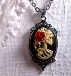 Red Rose Lolita Cameo Necklace  Skull Cameo by FashionCrashJewelry, $18.99