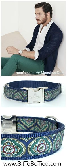 Navy and green fashion dog collar by Sit To Be Tied. Size Large $27.99 #handmade #up-cycled silk necktie.