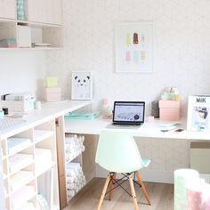 "▲ ▲ ▲ Eva ▲ ▲ ▲ on Instagram: ""In love with My new workspace  thank You @finnsend and thanks @mydeernl for The inspiration! #pastel #prints #nurserywallprint #wallpaper #nursery #prints #postcards #kidsstyling #kidsroom #"""