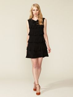 See by Chloe Silk Tiered Flutter Bow Dress
