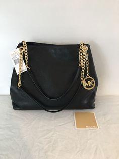 9bc213c627bff1 Michael Kors Jet Set Large Chain Shoulder Tote Bag Black New $298 # MichaelKors #ShoulderBagTote