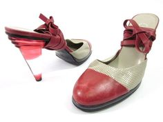 AUTH CHANEL Red Beige Leather Perforated Strappy Heels Pumps Sz 40 10 B at www.ShopLindasStuff.com
