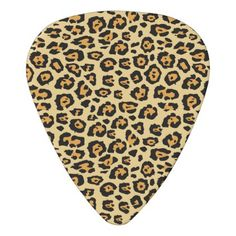 Orange and Black Leopard Print Guitar Pick - pattern sample design template diy cyo customize
