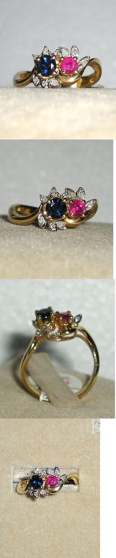 Rings 165044: Solid 14K Gold Ruby Sapphire Diamond Ring -> BUY IT NOW ONLY: $180 on eBay!