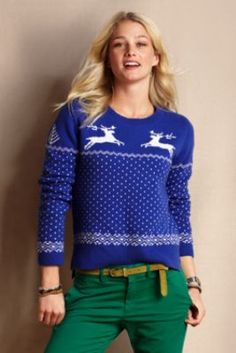 Lambswool Reindeer Sweater from Lands' End // don't judge me. I would t… Lambswool Reindeer Sweater from Lands' End // don't judge me. I would totally wear this Cute Christmas Sweater, Reindeer Sweater, Christmas Jumpers, Christmas Outfits, Christmas Ideas, Holiday Fashion, Autumn Winter Fashion, Holiday Style, Women's Fashion