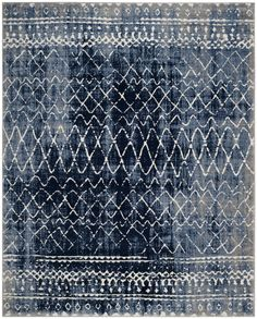 Safavieh Tunisia Bairre Overdyed Geometric Area Rug Or Runner, Size: X Blue Cream Area Rug, Blue Area Rugs, Blue Rugs, Gray Rugs, Room Rugs, Rugs In Living Room, Home Design, Interior Design, Art Chinois