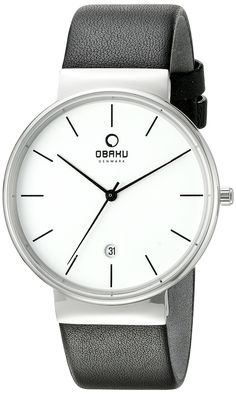 Obaku Men's V153GDCIRB Analog Display Analog Quartz Black Watch. Stainless steel watch with black genuine leather strap. Durable hardened mineral crystal protects watch from scratches. Analog-quartz Movement. Case Diameter: 42mm. Water Resistant To 99 Feet.