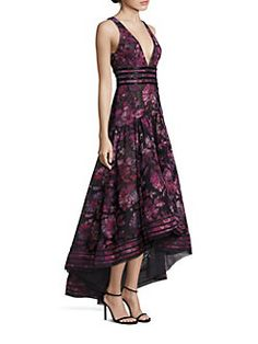 Marchesa Notte Beaded Floral Gown In Black Floral Evening Dresses, Beaded Evening Gowns, Beaded Gown, Beaded Dresses, Fall Dresses, Purple Floral Dress, Floral Gown, Plunging V Neck Dress, Marchesa