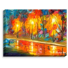 """DiaNocheDesigns 'Streetlights' by Jessilyn Park Painting Print on Wrapped Canvas Size: 12"""" H x 16"""" W x 1.5"""" D"""