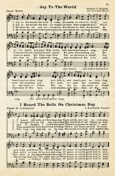 vintage weihnachten Here is avintage sheet music graphic that includes two Christmas hymns: Joy To The World and I Heard The Bells On Christmas Day. The page isfrom the vintage songbook The Golden Book of Favorite S Vintage Sheet Music, Vintage Sheets, Old Sheet Music, Joy To The World, Libros Wallpaper, Christmas Printables, Christmas Crafts, Sheet Music Crafts, Christmas Sheet Music