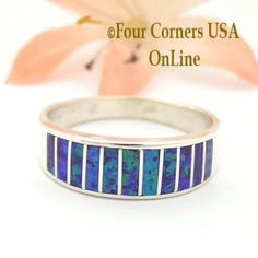 Size 10 Purple Fire Opal Inlay Wedding Band Ring Ella Cowboy WB-1620 Four Corners USA Online Jewelry Wide Wedding Bands, Engagement Wedding Ring Sets, Alternative Wedding Rings, Great Anniversary Gifts, Purple Fire, Native American Rings, Size 10 Rings, Band Rings, Opal