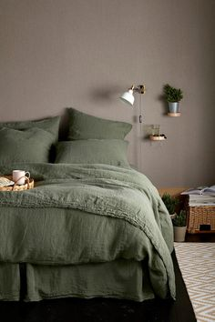 Love your bedtime with bedding and accessories made from the finest sleep ingredients. Olive Green Bedrooms, Bedroom Green, Dream Bedroom, Home Bedroom, Olive Bedroom, Woodsy Bedroom, 1980s Bedroom, Target Bedroom, Green Bed Linen