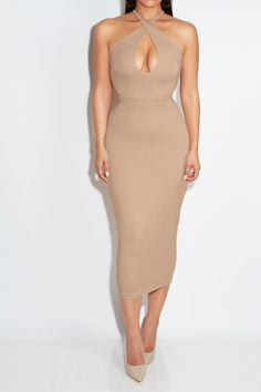 COCOA Peek-a-Boo Lace Back Midi Dress - #jluxlabel