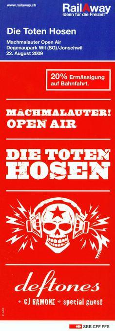DIE TOTEN HOSEN - MACHMALAUTER OPEN AIR DEGENAUPARK WIL - 2009 ORIGINAL FLYER