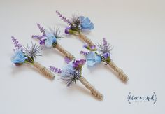 Rustic Wildflower Boutonniere with Lavender, Thistle, and Blue Wildflowers by blueorchidcreations on Etsy
