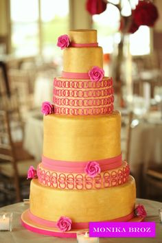 Indian Inspired PInk and Gold Wedding Cake Tall Wedding Cakes, Metallic Wedding Cakes, Pink And Gold Wedding, Beautiful Cake Pictures, Beautiful Cakes, Indian Cake, Pink Und Gold, Cake Show, Fantasy Cake