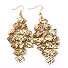 $3.84 Pair of Brilliant Small Square Embellished Earrings For Women