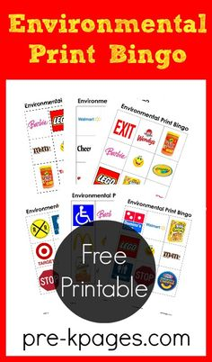 Environmental Print Bingo Game for Preschool and Kindergarten. Already downloaded and will make for next year!
